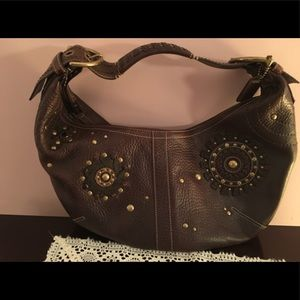 NEW COACH Gorgeous Brown Leather Embellished Hobo